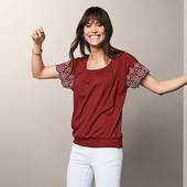 Нарядная футболка-блуза с вышивкой Tchibo р. нем. 48-50