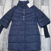 Шикарное зимнее пальто с вязанными рукавами