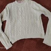 100%хб, шикарный укороченный свитер с косами