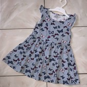 Стоп !❤,, Яркие бабочки,)фирменное коттоновое платье для девочки,3-4 года❤ Много лотов!