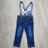 Зауженные джинсы с подтяжками lupilu германия на мальчика 1-2 года