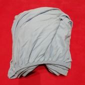 Голубая простынь на резинке 100 коттон трикотаж 215см на 220смм