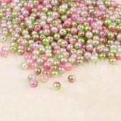 Бусинки жемчужные розово-зеленые 4мм. Лот 100 шт