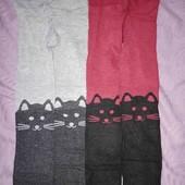 Лот 2 пары серые и бордо колготки с котиками р.110-116