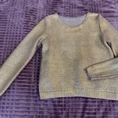 Свитер свитшот джемпер h&m в идеале на с-м серый золото