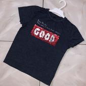 Стоп! ❤Стильная Фирменная футболочка с пайетками-перевертышами,7-8 лет❤море лотов!