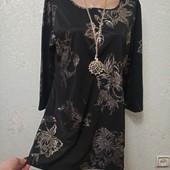 Роскошная нарядная черная кофточка с переливом и золотыми фактурными цветами р.18 Новая Акция