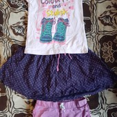Футболка, шорты, юбка одним лотом на 4-6 лет