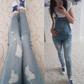 Классный джинсовый комбинезон р 28