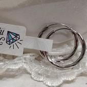 очень красивые круглые серьги-кольца-конго Ø-2 см, родий