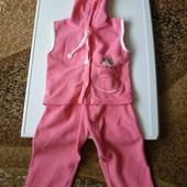 много детских вещей!!!! костюмчик розовый флис/ велюр+подарок кофточки 3 шт