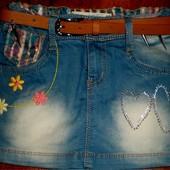 Очень красивая джинсовая юбочка для девочки