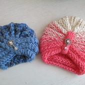 Детская шапочка-чалма, мохеровая и пряжа градиент пряжа