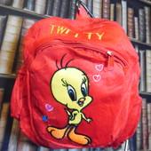 Красный плюшевый рюкзак chicken для мальчика или девочки