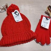 Германия!!! Комплект из вязанной демисезонной шапки и 2 пар перчаток! Замеры в описании!