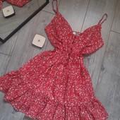 Игривое платье сарафан с рюшами валаны летнее на морько