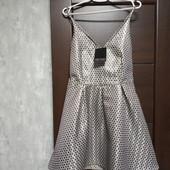 Фирменное новое красивое платье в серебристый горошек р.12-14.