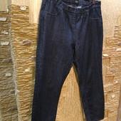 На пышные формы! Шикарные плотненькие темные стрейчевые зауженные джинсы резинка р.16 Новые