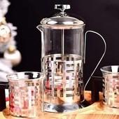 Заварник (Френч-пресс) + 2 чашки (Стакан+Подстаканник).Ньюанс.