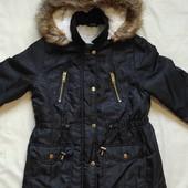 Теплая фирменная куртка/парка на девочку 10-11 лет