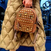 Замшевый рюкзак со стразами