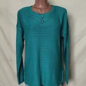 Бирюзовый свитер с удлиненной спинкой и разрезиками,L/xl