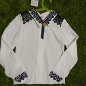 Белая блуза Sonya kids с кружевом, рост 140-146 см