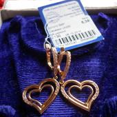 Золотые серьги сердечки-подвески 585 пробы с пломбой,Украина.