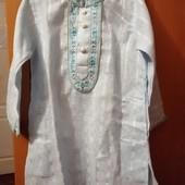 Рубашечка вышиваночка фирменная Alpana. Может быть как одежда для Крещения.,указано европейский р.22