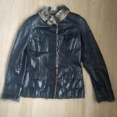 Кожаная куртка с мехом шиншиллы 44-46 размер