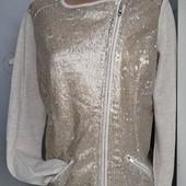 Джерси-пиджак с пайетками от Tchibo. Размер евро 38,наш 44