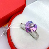 не пропустите! шикарное кольцо с фианитами и кристаллами Swarovski цвет хамелеон, р.20, родий