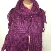 Мягенький теплый шарф с объемной вязкой и бахромой 170/21-38 Новый с биркой Акция читайте