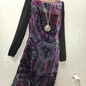 Шикарное нарядное бархатное платье с переливом р.14 Новое Акция читайте