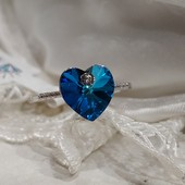 не пропустите! шикарное кольцо с фианитами и кристаллами Swarovski, р.19, родий