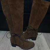 Високі чоботи із натуральної замші,утеплені 37 рр і устілка 24 см. Новинка.