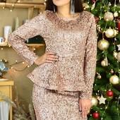 Эффектный , праздничный костюм:юбка+блузка.Потрясающее качество!