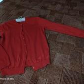 Uniclo M, базовый кардиган отличного качества, красный коралл