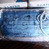 Детская трехслойная маска, голубая собачки Снупи, в лоте 50 шт