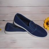 Кеды мокасины р31,33 (маломерки) цвет: синий (идут на 29,31