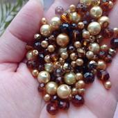 Хрусталь, перли, янтарні, золоті. Опис. Багато бусин у лотах)))