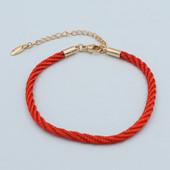 красивый красный переплетенный браслет-оберег косичкой р. 16/22 см, позолота 585 пробы