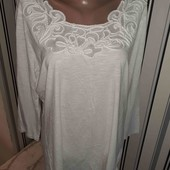 Біла футболочка з гарною горловиною Tu, розмір16(Пог -53)