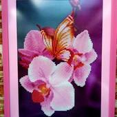 Алмазная живопись,алмазная мозаика стразами,орхидея с бабочкой,5D,diamond picture orchid hand made