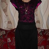 Шикарное нарядное платье верх гипюр р.48-50