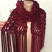 Шикарный яркий мягусенький пушистенький велюровый шарф 180/30-50 Новый Акция читайте
