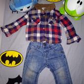 Джинсики и рубашечка для вашего модника на 9-12 месяцев