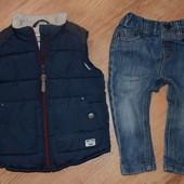 Тёплая жилетка Next на рост 86см. 12-18мес. В идеальном состоянии! + джинсы в подарок!