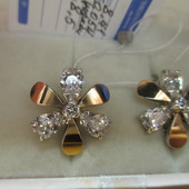 Акция к 8Марта!Изысканные роскошные серебряные серьги- 925 пр.с золотом 585 пр. .Новые с биркой!