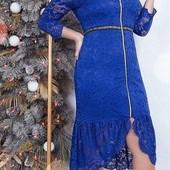 Шикарное гипюровое платье стрейч. Хорошо тянется. Рр54-56.цвет электрик. Новое.